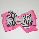 """Bow Clip,5"""" layered, bottle cap bow, pink/zebra"""