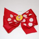 """Bow Clip,5"""" layered, bottle cap bow,red/white"""