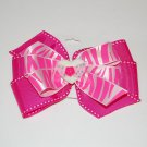 "Bow Clip, 5"" layered pinwheel bow,novelty center, pink/zebra"