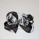 "Bow Clip, 4"" layered bow with surround, gem center, polka dot/zebra, black/white"