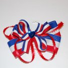 "Bow Clip, 4"" layered bow with surround, gem center, red/white/blue"