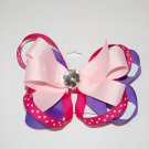 "Bow Clip, 4"" layered bow with surround, gem center, lavender/ pink"