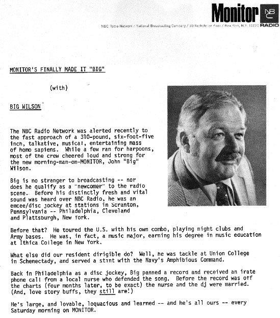 NBC Monitor  Big Wilson last show  1/26/75  3 CDs