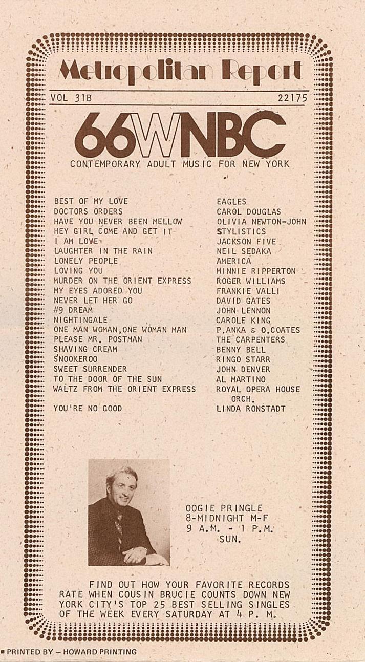 WNBC Oogie Pringle January 15, 1975     3 CDs