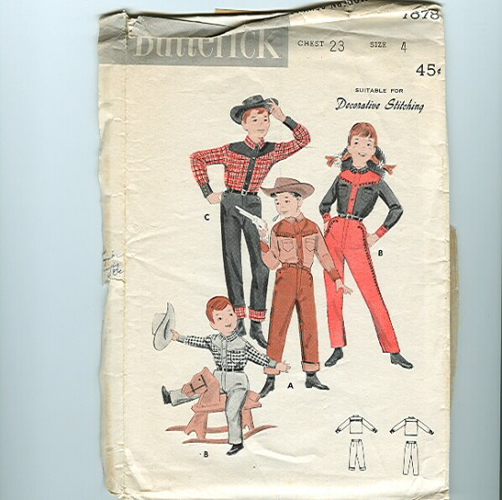 Vintage Sewing Pattern Child's Roy Rogers Western Cowboy Outfit Butterick 7878 UNCUT