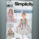 Daisy Kingdom Roses! Dress Sewing Pattern plus American Girl Doll Simplicity 7112 Sz 3-6 UNCUT