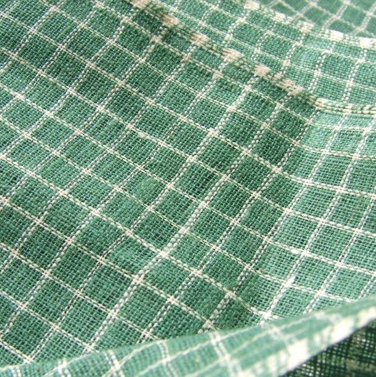 "Vintage Antique Homespun Nile Green Check Plaid Homespun Fabric Primitive! 31"" w by 30"""