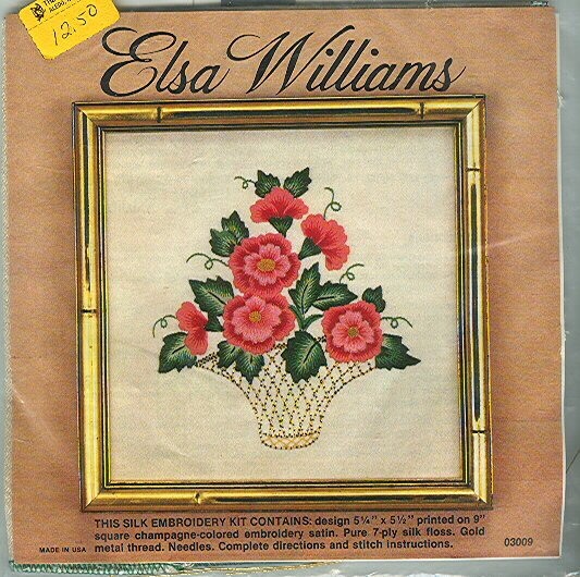 Vintage Silk Embroidery Kit Elsa Williams Peony Basket Floral