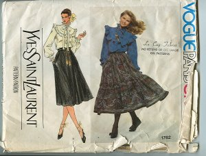 Vogue Yves Saint Laurent YSL Sewing Pattern Peasant Dirndl Skirt Paris Original 1762 Size 12 UNCUT