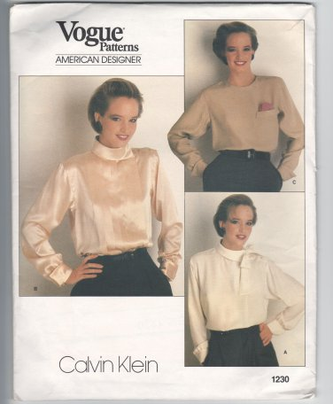 Vogue Tucked Blouse Sewing Pattern 1230 Calvin Klein Size 16 (Bust 38) UNCUT