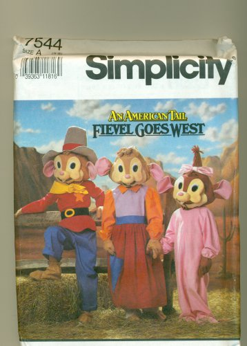 American Tail FIEVEL GOES WEST Costume Sewing Pattern Simplicity 7544 Size 3-8 UNCUT
