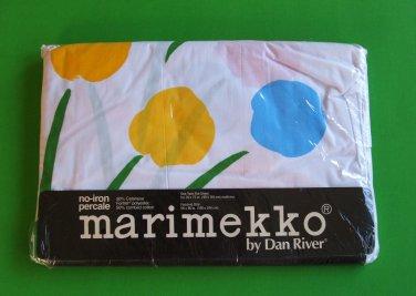 Vintage Mod Marimekko Twin Flat Sheet NIP SEVEN FLOWERS Groovy! FUJIWO ISHIMOTO