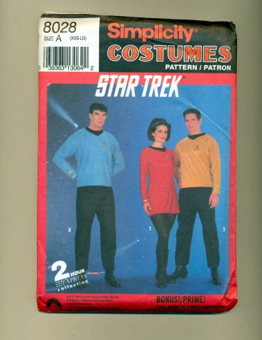 Vintage Halloween Costume Sewing Pattern Star Trek Tos Simplicity