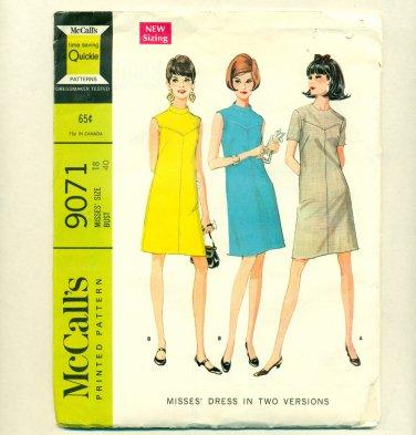 "Vintage Mod 1967 Dress Sewing Pattern McCalls 9071 Size 18 (Bust 40"") UNCUT"