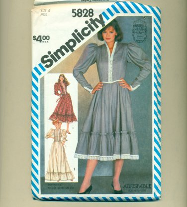 "80s Gunne Sax Prairie Dress Sewing Pattern Size 6 (bust  30 1/2"") Simplicity 5828 UNCUT"