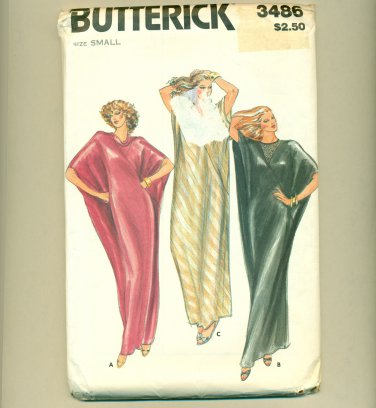 Vintage 80s Caftan Sewing Pattern Size Small (bust 31 1/2-32 1/2) UNCUT Butterick 3486