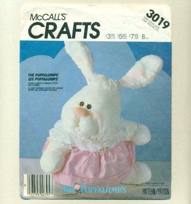Vintage Rabbit Puffalump Fisher-Price Sewing Pattern UNCUT McCalls 3019