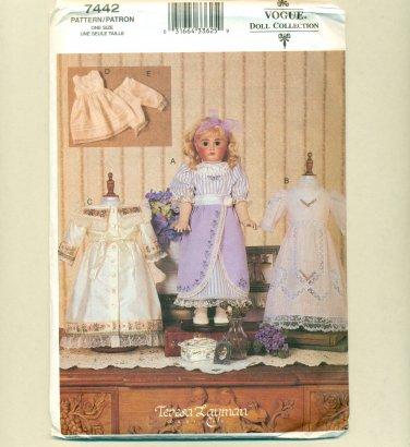 "Vogue 18"" Doll Historical Clothes Pattern UNCUT 7442"