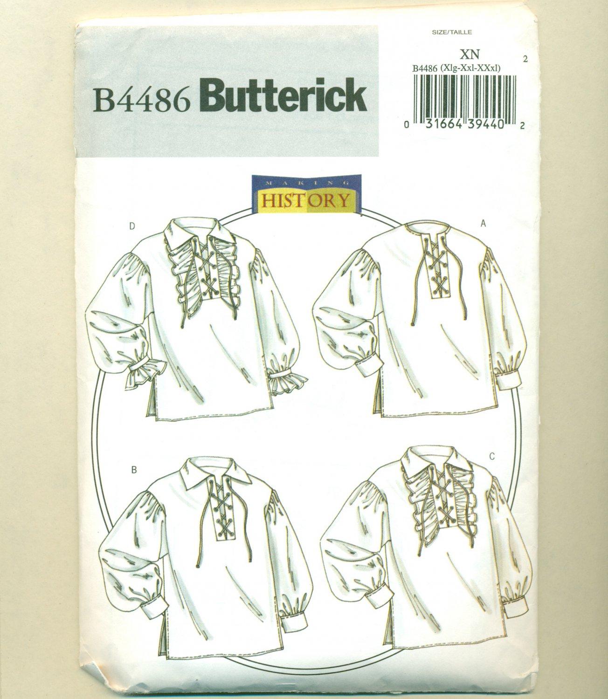 Costume Sewing Pattern Lace-Up Shirt Butterick 4486 Size XL-XXXL UNCUT
