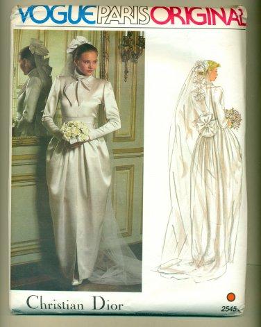 Vogue Christian Dior Paris Original Wedding Dress Sewing Pattern 2545 Size 12 UNCUT