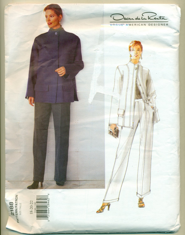Sewing Pattern de la Renta Vogue 2188 Size 18-22 Misses Pants Jacket UNCUT