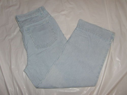 Women's Faded Glory Pant Capris size 8 blue white pin