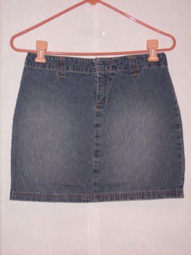 Old Navy Blue Denim Jean Mini Skirt Size 2 Distressed