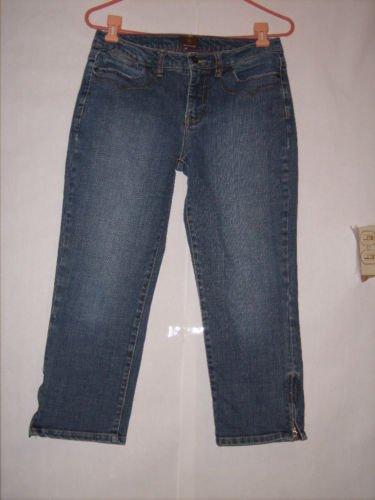 Momento Blue Denim Jean Capris size 6 long Zipper leg