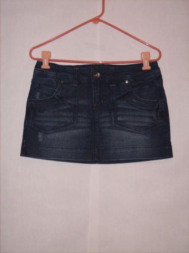 l.e.i Distressed Blue Mini Jean Skirt size 7 Juniors
