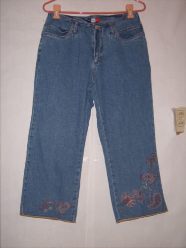 French Cuff Blue Denim Jean Capris size 10 embroy leg