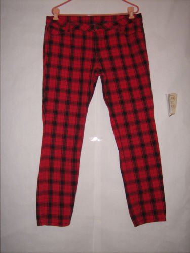 City Streets Red Plaid Skinny Denim Jeans size 17 Juniors great condition