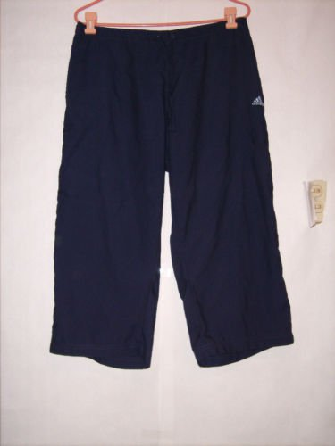 Adidas Blue Athletic Pant capris size XL Blue with Baby blue stripes