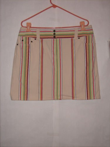Ann Taylor Loft stretch Striped Skirt Size 16 Flat Front