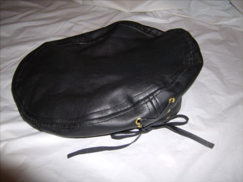 New Leather Black Beret with leather tie
