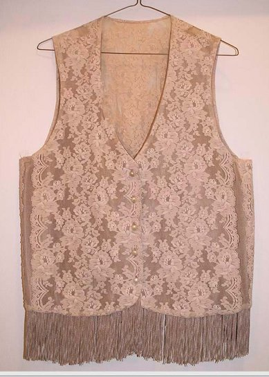 Lace Vest with Fringe Trim Antique Buttons Med/Large Vintage OOAK