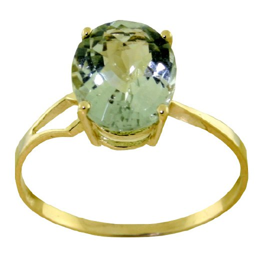 14K gold ring with checkerboard cut green amethyst