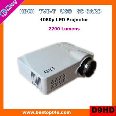 Portable hd led projector HDMI 1080p with USB/SD reader (D9HD)