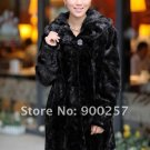 Top Qulity, Luxury, Genuine Real Hooded Pieced Mink Fur Coat