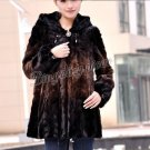 Top Qulity, Luxury, Genuine Real Hooded Mink Fur Coat Black/Brown