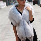 Top Quality REAL GENUINE Whole Hide Fox Fur Shawl/Scarf , Pale Grey