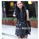 Real Long Lambs Leather Vest with Full Length Genuine Raccoon Fur Collar M