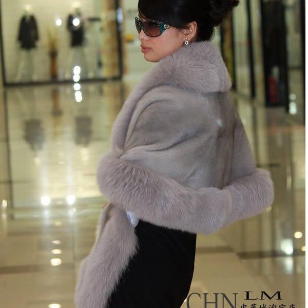 Luxuy Large Genuine REAL Mink Fur Shawl with Fox Trim Blue-Grey