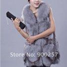 Gorgeous Genuine REAL Fox Fur Long Vest, Light Blue-Grey, M