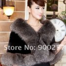 Genuine Top Quality Mink Fur Wrap/Shawl Fox Fur Trims, Black/Silver Fox