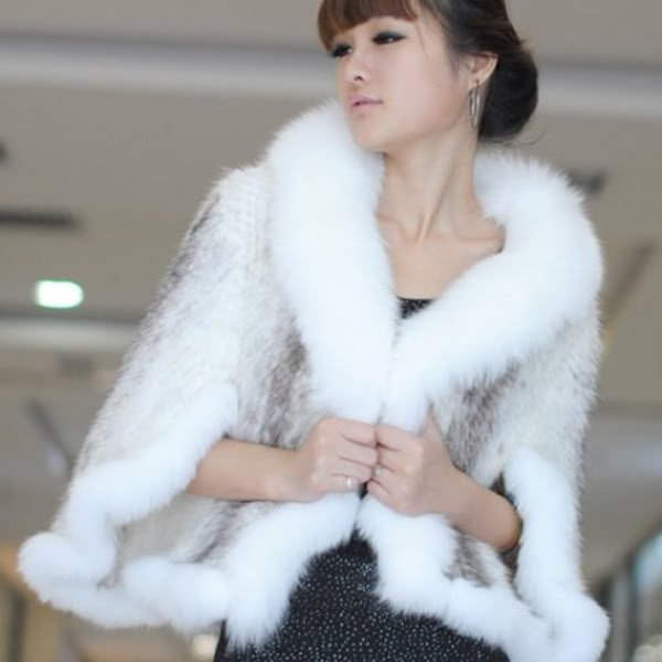 Genuine Knitted Mink Fur Shawl with Real Fox Fur Trims White
