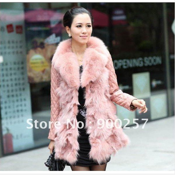 Lamb Leather Coat With REAL Fox fur Trimming & Fox Collar, Pink, XL