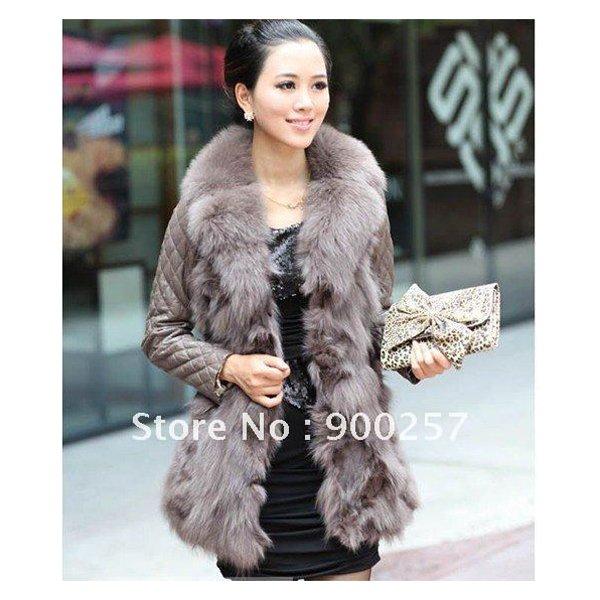 Lamb Leather Coat With REAL Fox fur Trimming & Fox Collar, Grey, L