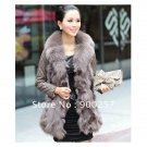 Lamb Leather Coat With REAL Fox fur Trimming & Fox Collar, Grey, L
