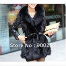 Lamb Leather Coat With REAL Fox fur Trimming & Fox Collar, Black,XXL
