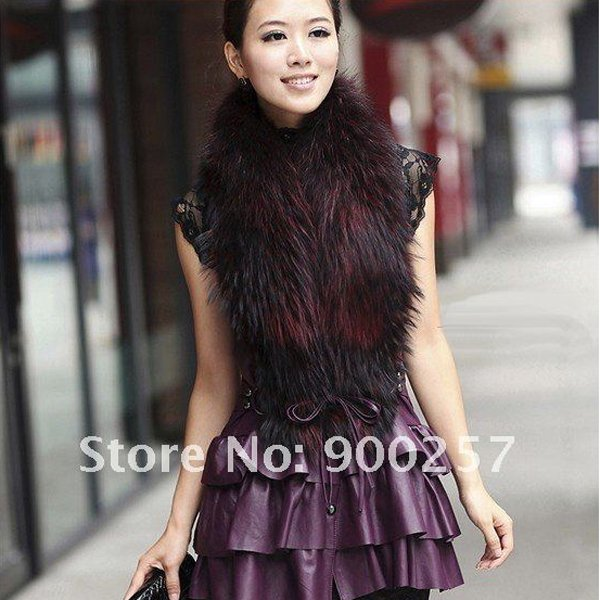 Cute Sexy REAL Leather minis skirt vest Racoon Trim, Purple